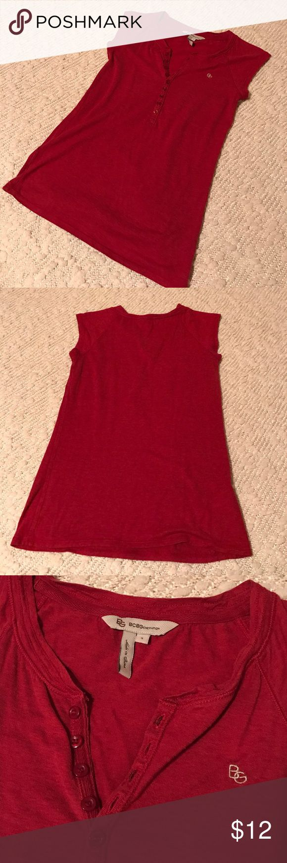 BCBGeneration Henley Tee S Cute red BCBG top!!! Size small, but best fits XS. Flawless except for one pin hole shown in last photo. BCBGeneration Tops
