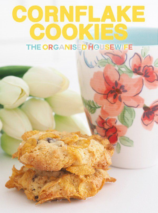 An old favourite, crunchy chocolate chip cornflake cookies, great to fill up the kids lunchbox or an after school snack.
