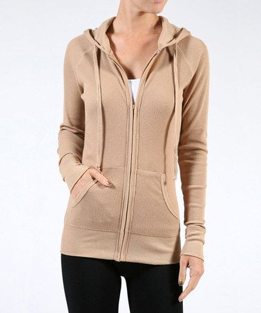 Camel Thermal Zip-Up Hoodie - Plus #zulily #zulilyfinds