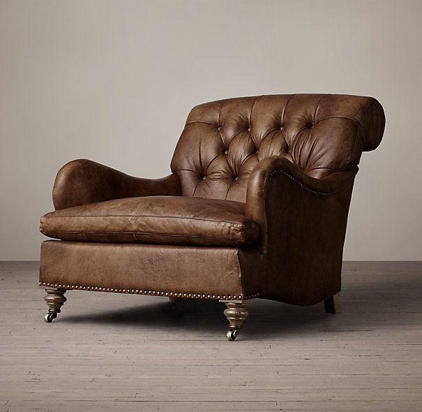 Restoration Hardware - Carlton Leather Club Chair in Molasses