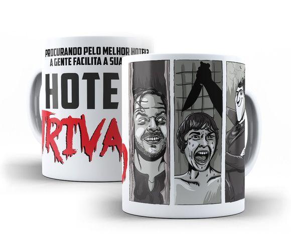Caneca Hotéis de Terror #ninecanecas #caneca #mug #decoração #presente #criativo #trivago #hotel #terror #classicos #humor #filmes #psicose #iluminado #transilvania #suspense