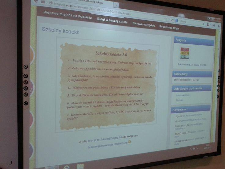 Tydzień temu na godzinie wychowawczej rozpoczęliśmy przygotowania do Targów 2.0. Nasza klasa dostała do zaprezentowania pierwszy punkt z Kodeksu 2.0. :  1. Ucz się z TIK, zrób wszystko w mig. Twórzcie blogi swe i poczty też!