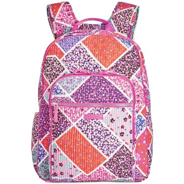 Vera Bradley Iconic Deluxe Campus Small Backpack ($128) ❤ liked on Polyvore featuring bags, backpacks, modern medley, laptop backpack, lightweight daypack, vera bradley bags, quilted backpack and laptop bags