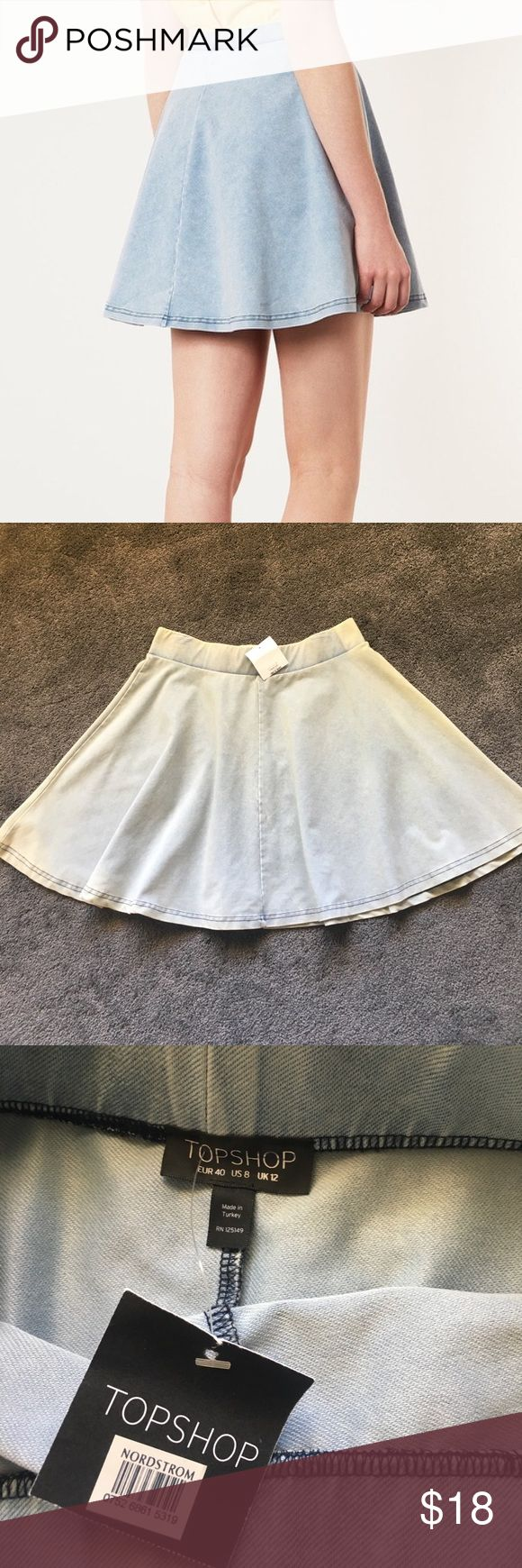 "Topshop acid wash ""denim"" skater skirt Us size 8 skater skirt, new with tags. 68% cotton 23% polyester 9% elastane. Wash with similar colors and tumble dry low. Super cute summer skirt Topshop Skirts Circle & Skater"