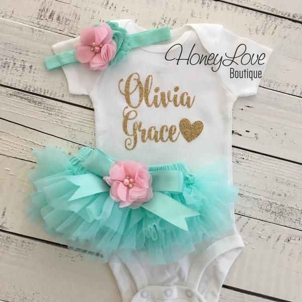 PERSONALIZED SET gold glitter shirt bodysuit, mint/aqua tutu skirt bloomers light pink flower, newborn baby girl take home hospital outfit coming home set, birthday girl outfit by HoneyLove Boutique