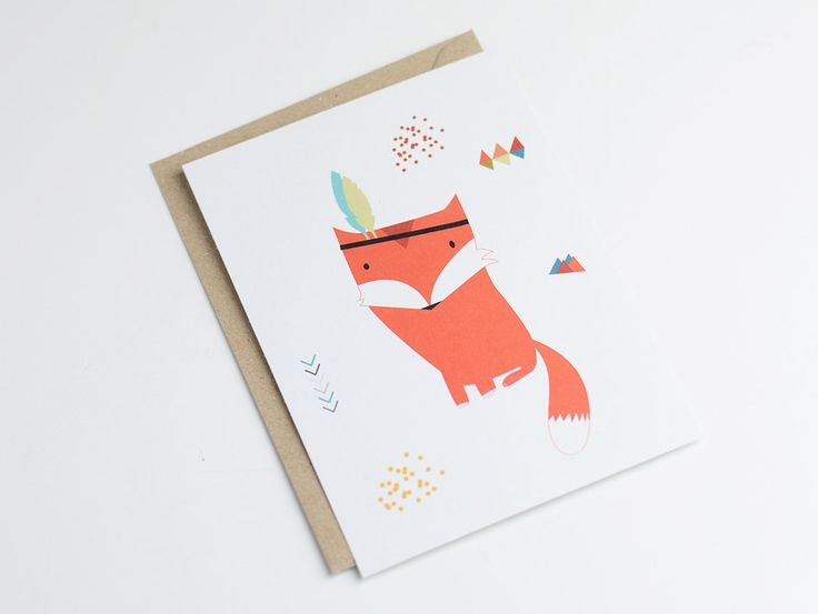 """Postcard """"INDIAN FOX"""" - original print - perfect for a baby room - illustration fox with feather - indian style door greenandpaper op Etsy https://www.etsy.com/nl/listing/208356153/postcard-indian-fox-original-print"""
