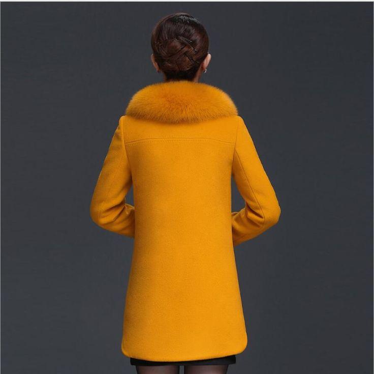 Femmes de Chaud D'hiver Manteau Jaune Col De Fourrure Unique Poitrine Laine Outwear Plus La Taille Jaqueta Feminina Inverno Haute Qualité E13