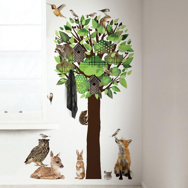 KEK Amsterdam Wandtattoo Baum & Waldtiere grün 200cm bei Fantasyroom online…