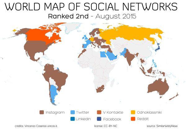 Carte réseaux sociaux dans le monde - 2e rang (août 2015)  World map of social networks - ranked 2nd (august 2015)