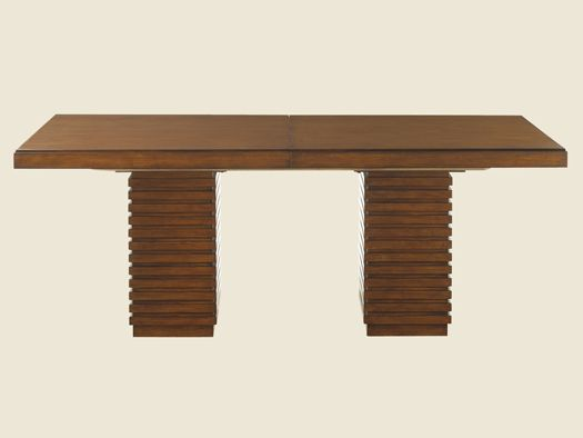 Ocean Club - Peninsula Dining Table  The distressed metal base is highlighted with a crushed bamboo insert. Three glass top options are available, 54 or 60 inch diameter or 84W x 48D all will polished edge and one-inch bevel. The rectangular top requires two bases for proper support.     Dimensions: 20¼W x 20¼D x 28¾H in.
