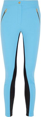 Emilio Pucci Leather-paneled twill skinny pants - Shop for women's Pants - Blue Pants