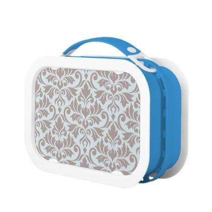 Flourish Damask Lg Pattern Taupe on Duck Egg Blue Lunch Box - kitchen gifts diy ideas decor special unique individual customized