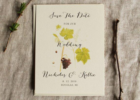 Vineyard Save The Date Grape Vine Winery Save by KayleighDuMond