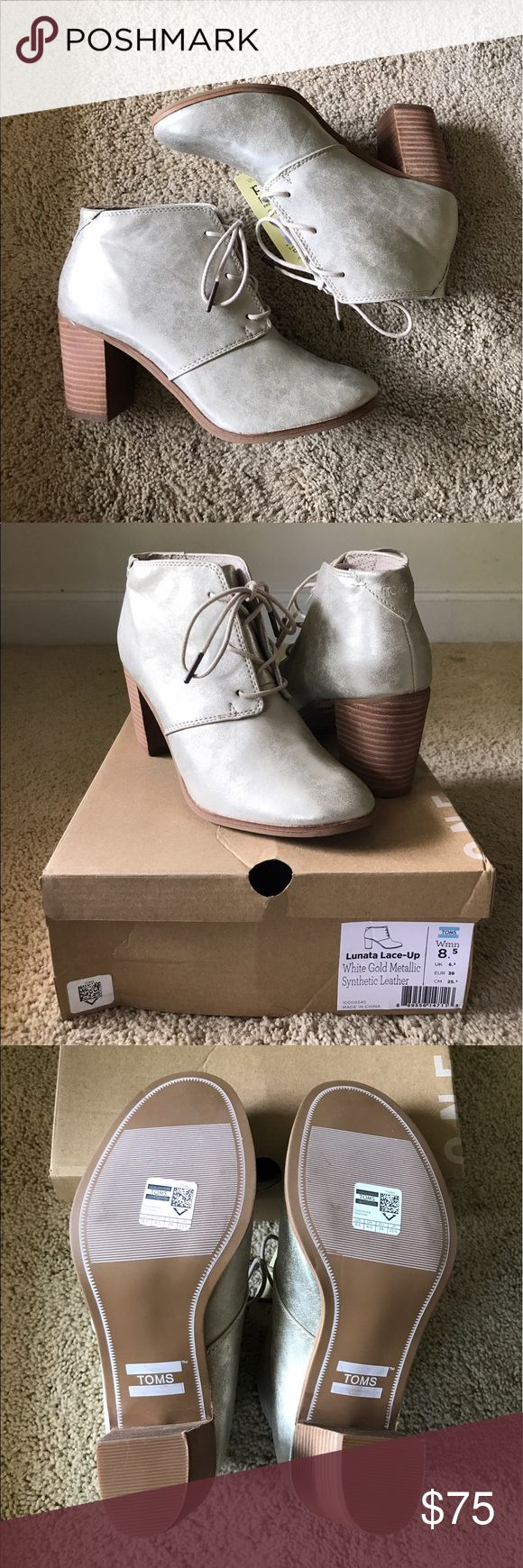 NWT TOMS Lunata Lace-Up White Gold Booties BRAND NEW, PERFECT CONDITION!! Only worn to try on. White Gold Metallic Synthetic Leather. True to size. Very cute and comfortable. Comes in original box and toms bag and sticker. TOMS Shoes Ankle Boots & Booties