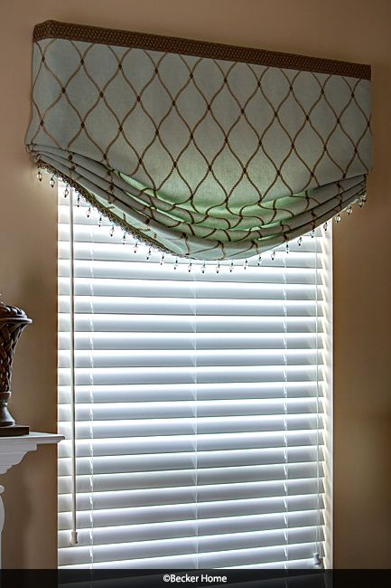 Relaxed Roman Shade Stationary Roman Shade Beaded Trim