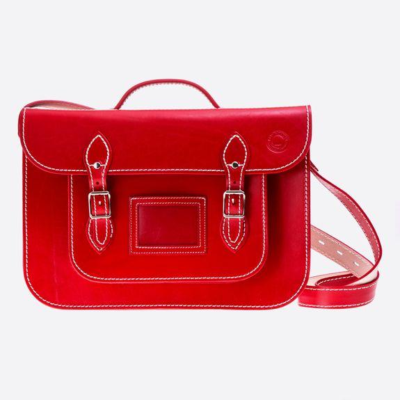 Old School Satchel - 15 Inch Satchel – Red