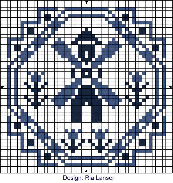 Delft Blue cross stitch pattern.
