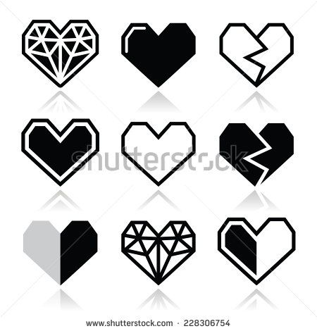 Geometric heart for Valentine's Day icons - love concept by RedKoala #abstract #shape