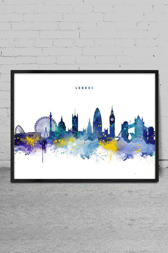 London Skyline, Watercolor Art Print, London Wall Art Print, Home Decor, Watercolor Painting, London Cityscape Art Print -x133