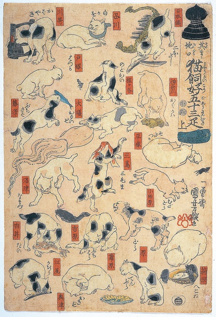 猫飼好五十三疋 Fifty-three Cats as Puns for the Names of the Stations on the Tokaido Road 浮世絵. 歌川国芳(1798-1861)