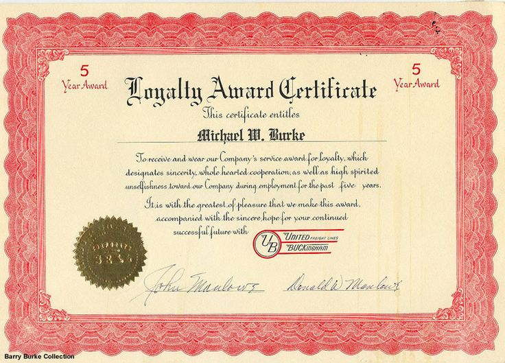 certificate of loyalty templates