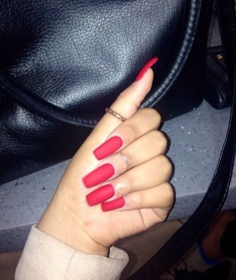 Matte red acrylic nails