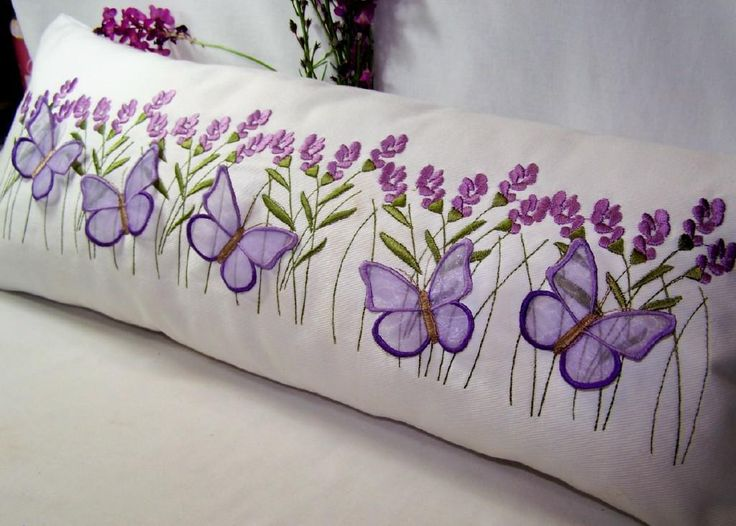 Looking for your next project? You're going to love Lavender and Butterfly Pillow by designer Embroidershoppe.