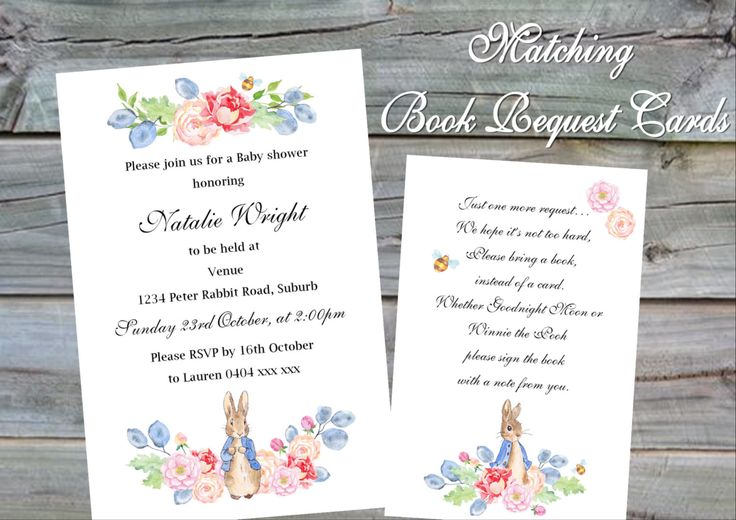 Peter Rabbit Baby Shower Invitation with matchin book request card - JPEG Files only by KleezPrints on Etsy