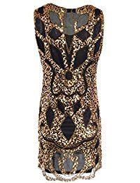 LaoZan Retro 1920er Vintage Art Deco Pailletten Inspired Gatsby Flapper Kleid für Damen