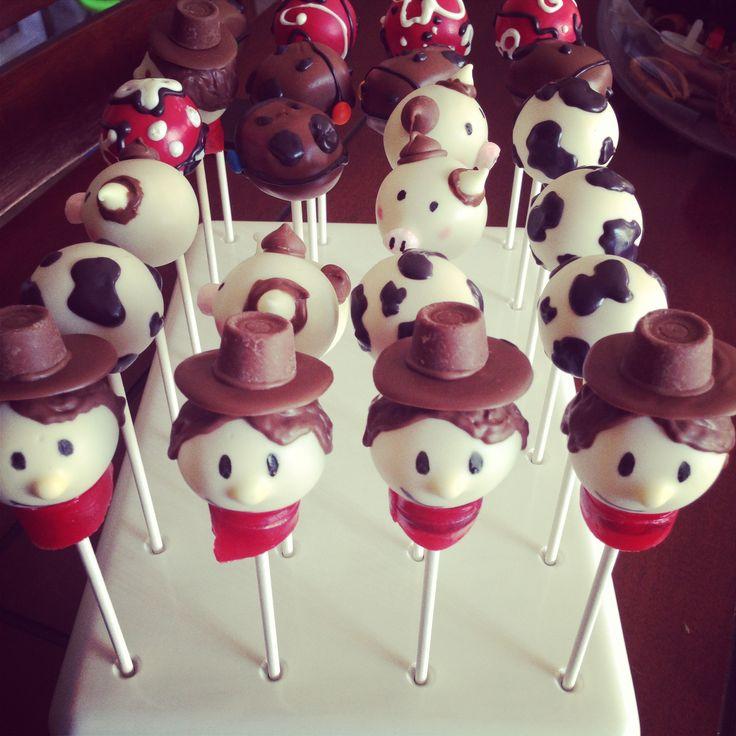 Cowboy themed cake pops   http://instagram.com/honeybeescakepops