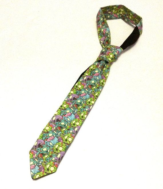 Zombie Skulls with Brains Skinny Necktie on Etsy, $32.00 zombie lovers zombie wedding geek gifts