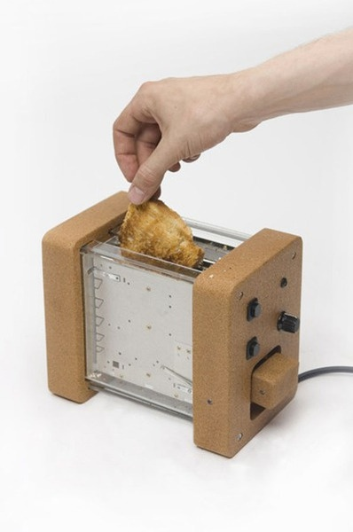 RCA graduate Gaspard Tiné-Berès and super craftsman Tristan Kopp…  are on a mission to clear landfill sites of small appliances by transforming old glass parts and cork into new, very beautifully designed toasters and kettles.    via unconsumption.com
