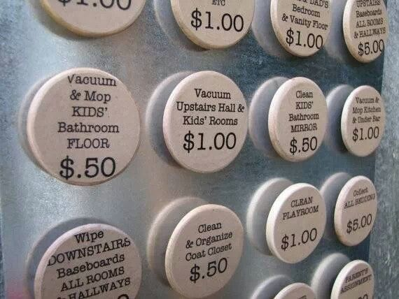 Choose your chores (and earnings). Love this idea too! $0.50 for moping? I don't know if that will fly in our house! haha :)