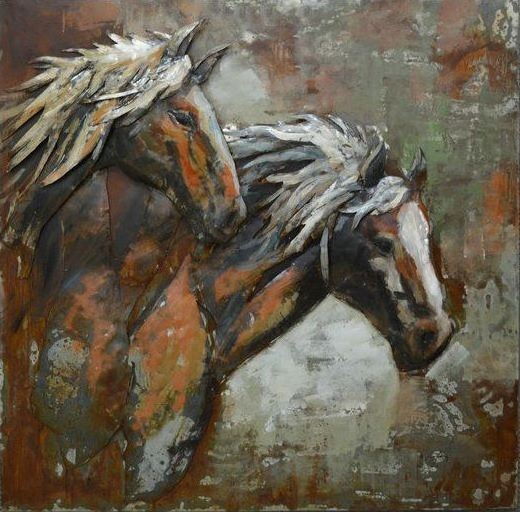 This 3D Steel Wall Art Painting Wild Horses is an attractive feature to your Indoor or Outdoor room. This wall art has been hand crafted with a metal frame and handpainted on metal to create a 3D piece. Wonderfully unique, if you are looking for that WOW factor, these are stunning! Dimensions: 1000MM X 1000MM $699.95