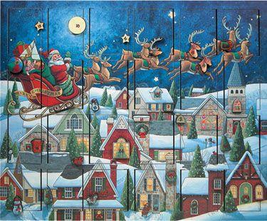 Santa's Sleigh Wooden Advent Calendar   Wooden Advent Calendars   Vermont Christmas Co. VT Holiday Gift Shop