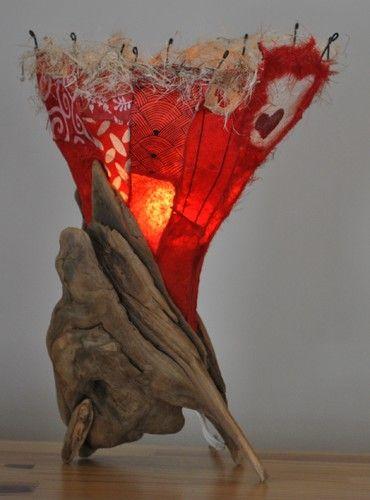 Driftwood table lamp - Lampe de bois flotté - eclectic - table lamps - montreal - atelier Bertrand