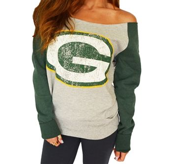 Green Bay Packers off-shoulder, raw-edge sweatshirt