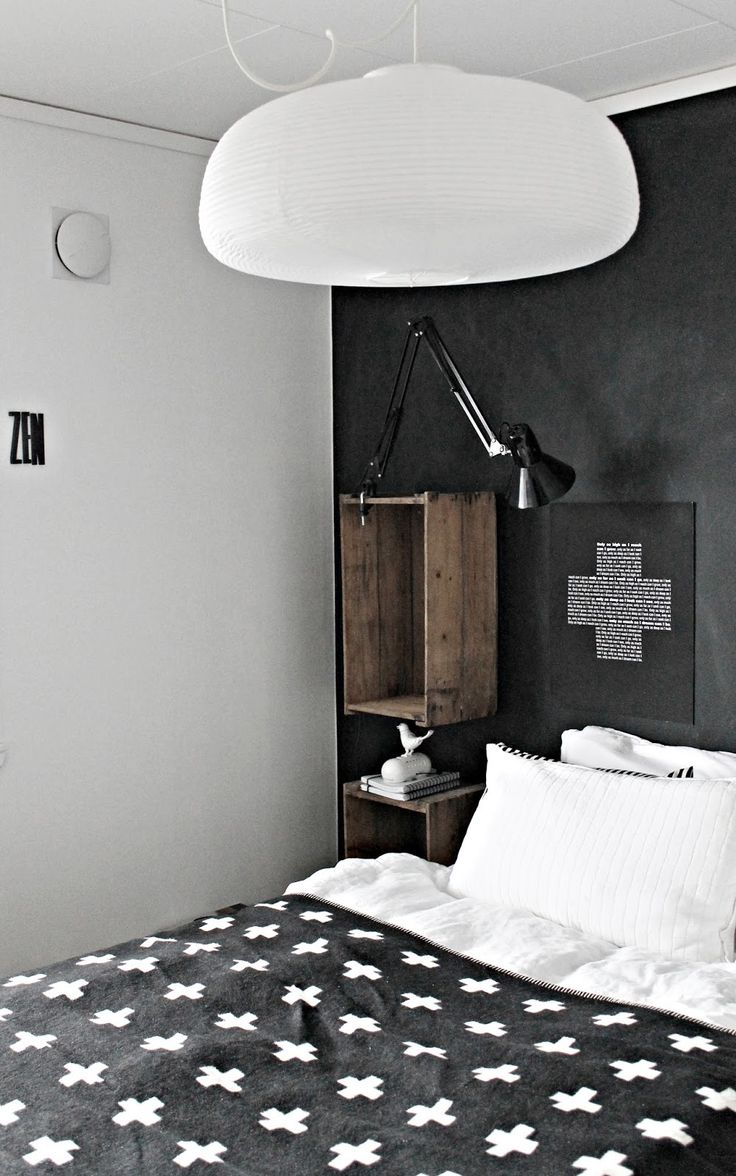 ✚: Maling Og, Bedroom Decor, Decorating Ideas, Og Kritt, Design Poster, Black White Bedrooms, Skrinet Mitt, Bedroom Designs