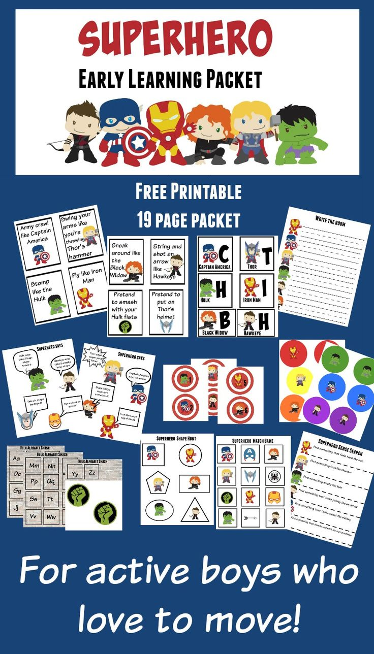Free printable superhero early learning packet for kids