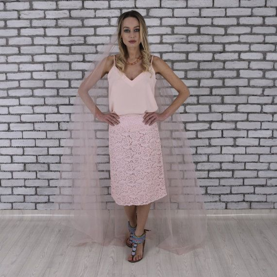 Pink Lace Midi Skirt Pink Skirt Wedding Skirt by TheDearestBridal