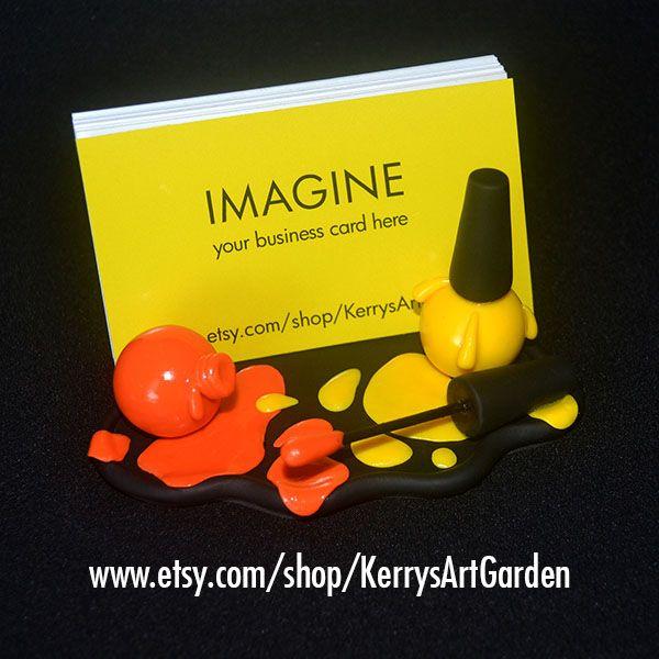 Orange & Yellow Nail Polish Polymer Clay Business Card Holder $30 www.etsy.com/shop/KerrysArtGarden