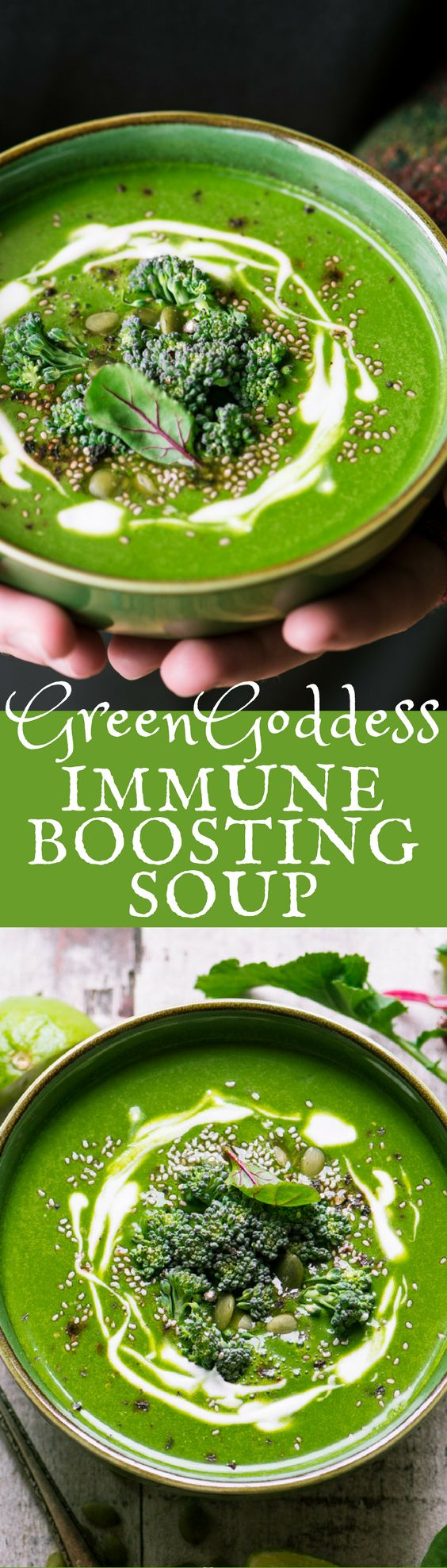 Green Goddess Immune Boosting Soup ~ this nourishing soup is the cold weather equivalent to your power smoothie.  This brilliant soup is packed with everything you need to get through cold and flu season without so much as a sniffle. #soup #healthysoup #immuneboost #detoxsoup #detox #greensoup #superfoods #greens #vegan #vegetarian #homeremedy #fluremedy #coldremedy #ad