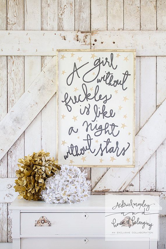 a girl without freckles framed sign by Aedriel & TheHouseofBelonging on Etsy, $135.00