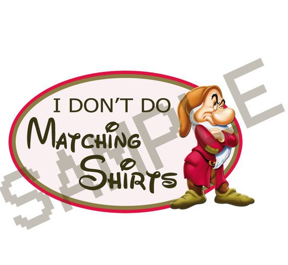 """Personalized Disney vacation iron on, """"I don't do matching shirts"""" Villains, Grumpy, Hades, Evil Queen, etc."""