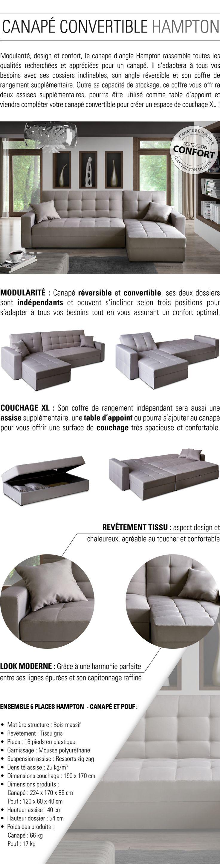 224x170x86cm - Canapé d'angle + 1 pouf - Convertible + coffre de rangement - Fabrication européenne.