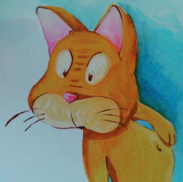 perché tentare non nuoce... #cat #belly #bellybutton #gouache #tempera #fine #hungry #gatto #orange #arancione #illustration #illustrazione #disegno #dibujo #pintura #gato #panza #anaranjado #ombligo