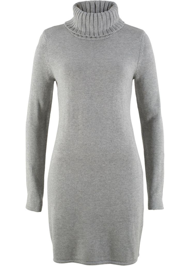 Rolákové pletené šaty, dlouhý rukáv, bpc bonprix collection