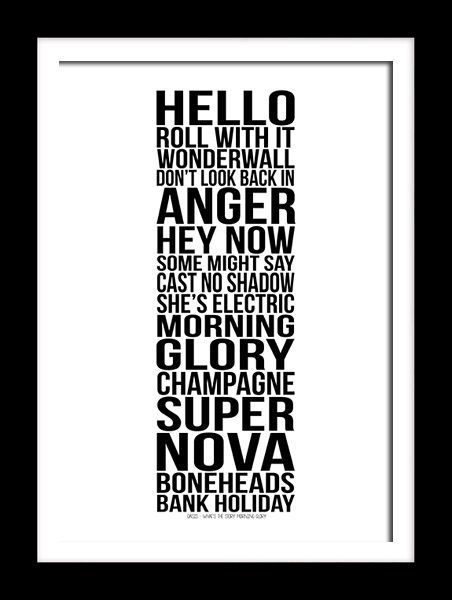 Oasis Album Whats the story Morning Glory typography art print for self framing