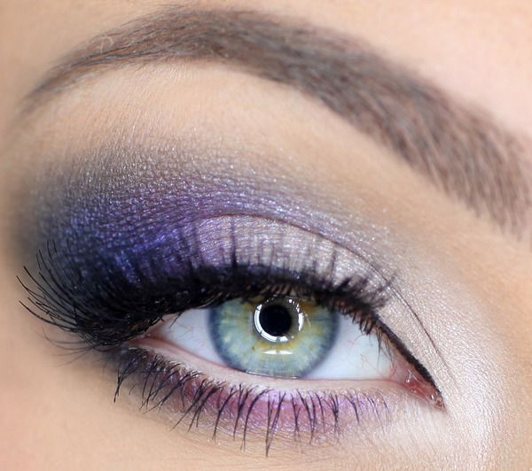 Light purple eyeshadows look clean and fresh with a touch of highlighter.