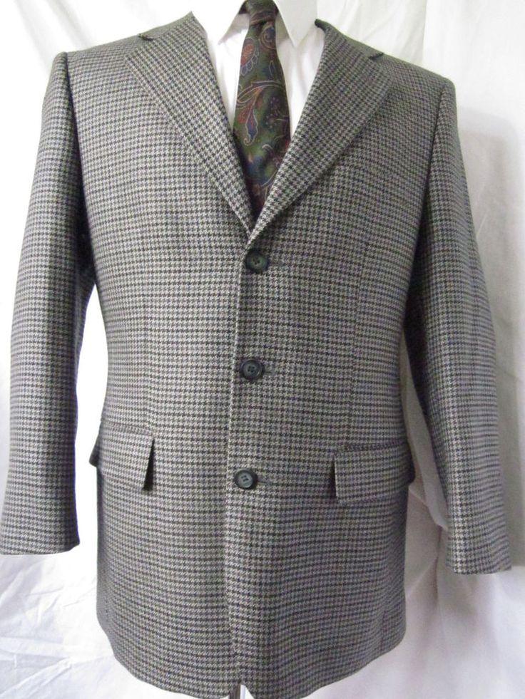 Jacket 38 Short Protocol Bowhill Houndstooth Tweed Wool Sport Blazer Coat Gray